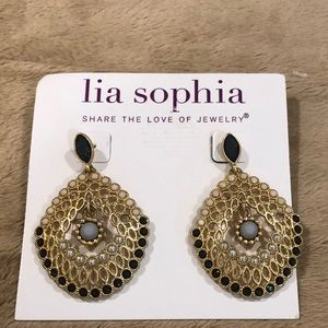 Lia Sophia Gold Tone Fan Fare Earrings